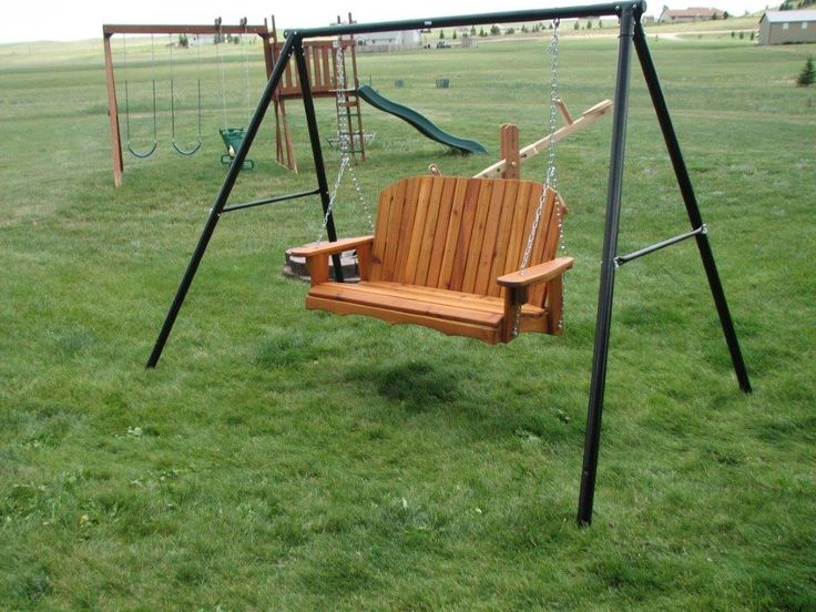 repurposed swing set frame to porch swing