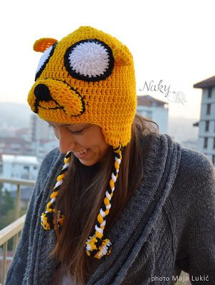 Jake the dog crochet hat   Adventure time  #crochet #hat #winter My kiddos would LOVE this one too....Finn's best friend :) @Dena Weaver