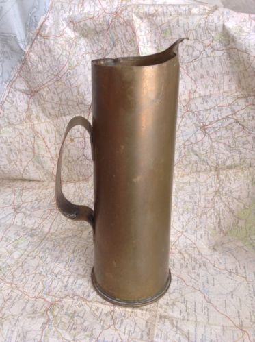 World War One Trench Art Jug Made from British 18 Pounder Artillery Casing, WW1