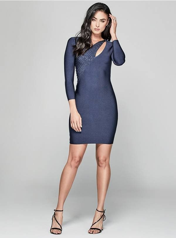 A sleek bandage dress with sparkling bead embellishments and a sophisticated long-sleeve design | MARCIANO.com