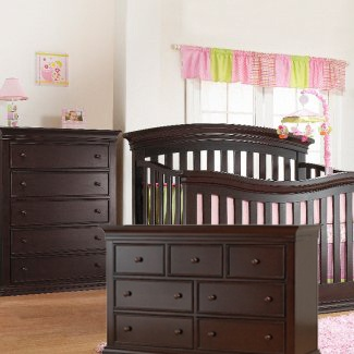 This Sorelle 3 piece set in espresso includes the crib to full-size convertible Verona Crib, 5 drawer dresser and double dresser. JPMA, CPSC & ASTM certified. Free shipping!