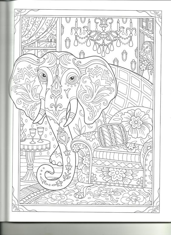 Animal Pics Adult Coloring Books Elephants Pages Drawings Colouring In Vintage Pet Pictures