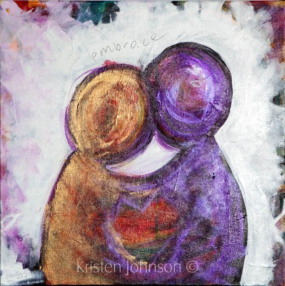 This is a small painting I have called it embrace. I've been enjoying playing with the metallic paint for a little sparkle.
