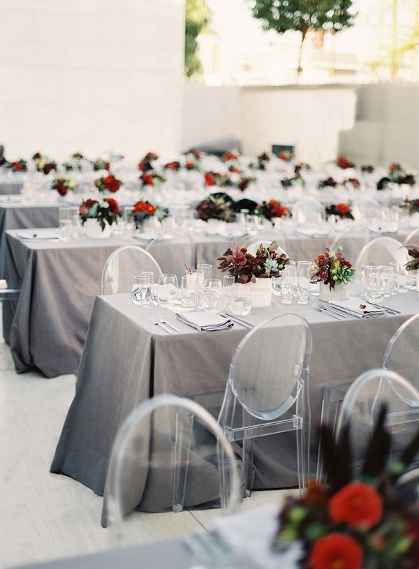 gray and red reception details