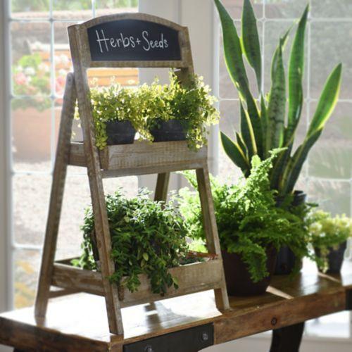 Folding Wood and Chalkboard Plant Stand | Kirklands