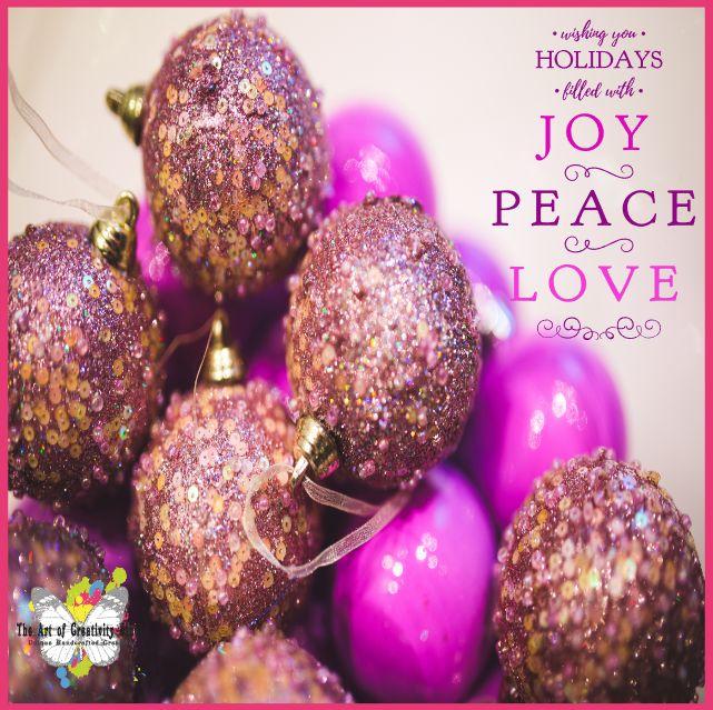 Wishing You Holidays Filled with Joy, Peace & Love ~ Seasons Greetings ~ Free Printable on The Art of Creativity Studio Blog
