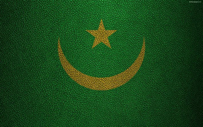 Download wallpapers Flag of Mauritania, 4k, leather texture, Africa, Mauritanian flag, flags of African countries, Mauritania