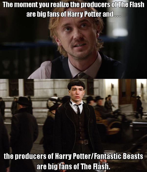 Besides Cisco's Harry Potter reference in season 2 episode 20 in The Flash, the actor Tom Felton who plays Julian Albert AKA Dr. Alchemy was also in the Harry Potter movies as Draco Malfoy. In the spin-off from the Harry Potter franchise, Fantastic Beasts And Where To Find Them had Ezra Miller play as Credence Barebone who will also being playing the Flash in his own movie along with other DC superheroes in Justice League Part 1, and any other DC movies. This is wild and awesome!