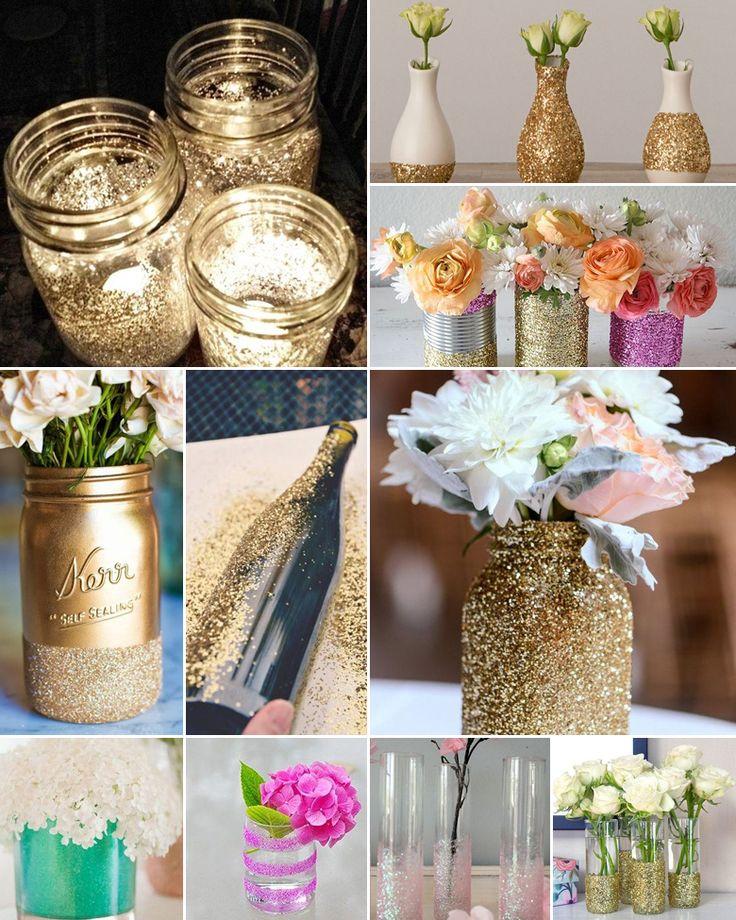 decoratie met glitters op vazen