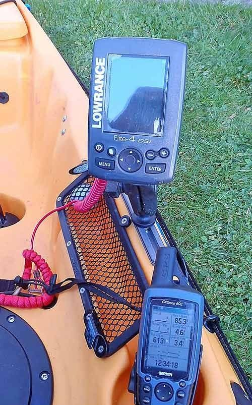 Installing a fish finder in a fishing kayak