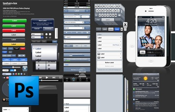 iOS 5 GUI template - http://www.teehanlax.com/downloads/ios-5-gui-psd-iphone-4s/