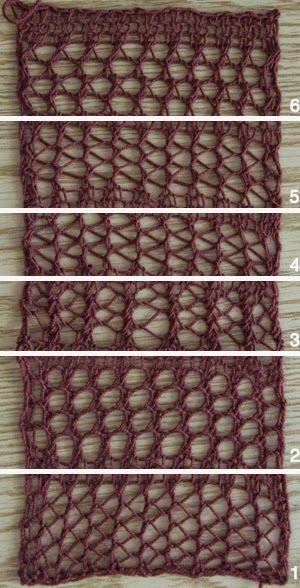 lo spazio di lilla: Punti traforati ai ferri: 6 varianti con spiegazioni / 6 different knitting mesh stitches with patterns
