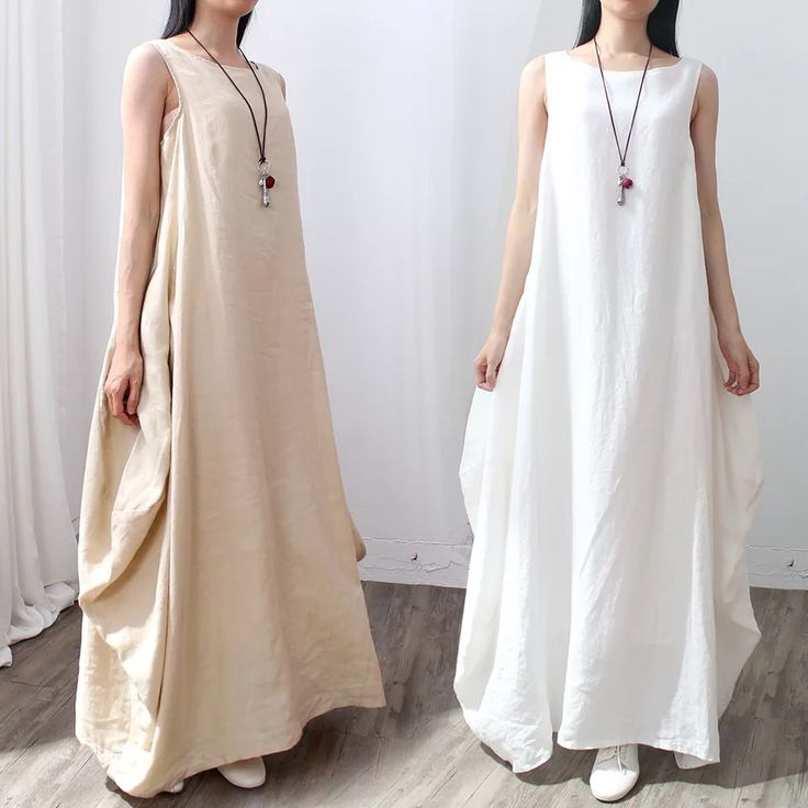 Rice and white causal dresses maxi size dresses