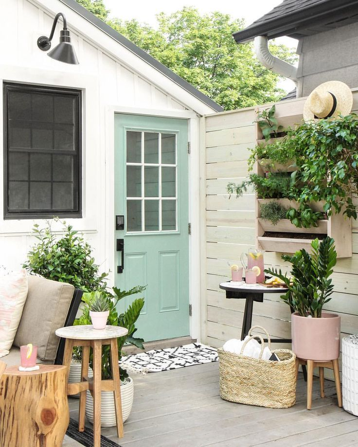 Love This Pale Green Door With The White Exterior Backyard Makeover Backyard Large Backyard Landscaping