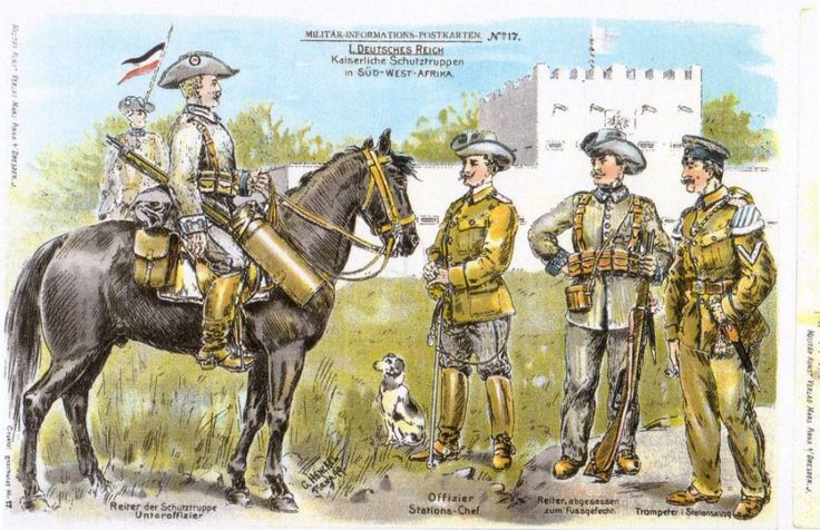 German; Sud West Afrika Schuttruppen. L to R Unteroffizier, Offizier(Station Chief), Trooper, campaign dress & Trumpeter in Station dress.