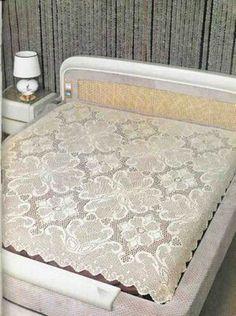 Crochet filet work, bedspread ♥LCB♥ with diagram.