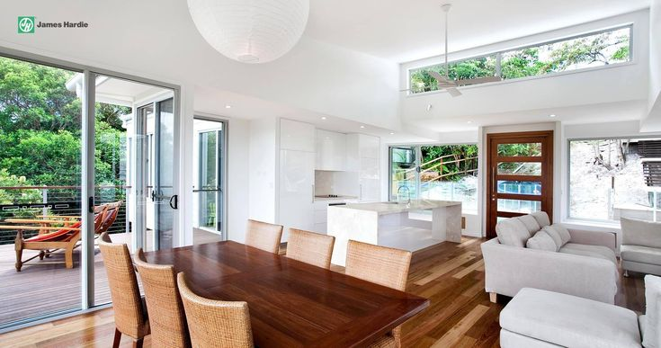 This home features open plan living #jameshardie #interior #kitchen #coastal #australia #linea #weatherboard #contemporary
