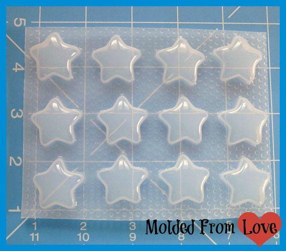 SALE Sheet of 12 Kawaii Stars Handmade Plastic Mold