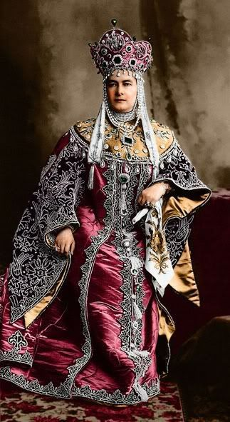 1903 costume ball in the Winter Palace, St. Petersburg, Russia. Grand Duchess Maria Pavlovna (senior) in a boyarynya (a noble woman in ancient Russia) fancy dress on the fashion of the 17th century.