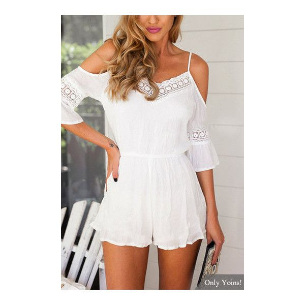Yoins Cold Shoulder Playsuits With Lace Inserts ($16) ❤ liked on Polyvore featuring jumpsuits, rompers, white romper, white rompers, sexy romper, playsuit romper and sexy white rompers