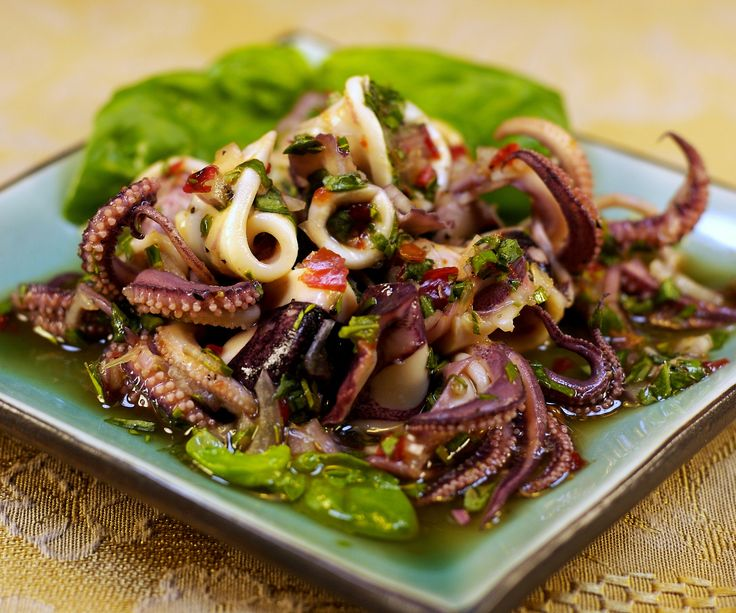 A quick, spicy squid salad with a citrus bite.