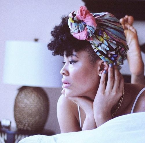 scarf fashion for short twa natural hairstyle