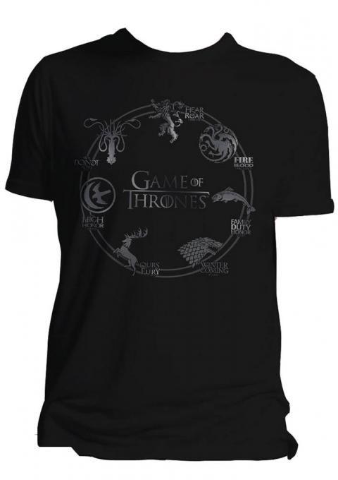 Camiseta siete reinos. Juego de Tronos Estupenda camiseta totalmente oficial y fabricada en material 100% algodón con las imágenes de los siete reinos protagonistas de la aclamada y exitosa serie Juego de Tronos. Ideal para regalar a todos los fans.