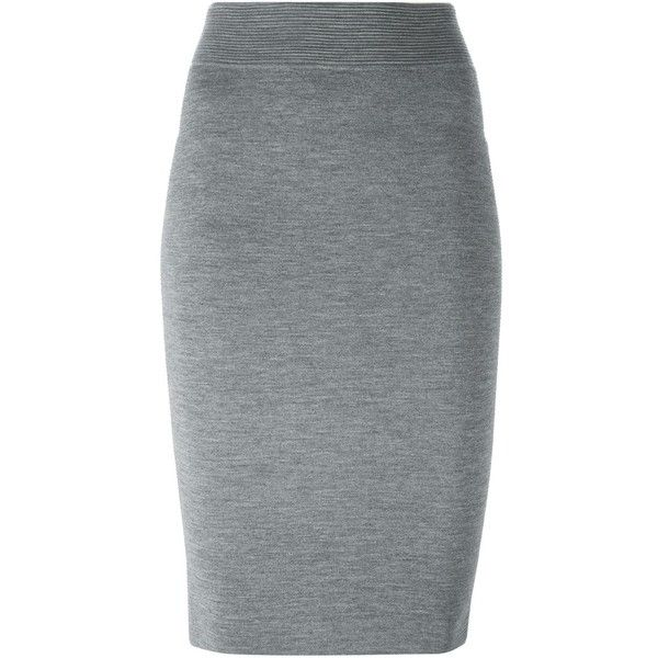 Alexander McQueen knit pencil skirt ($1,050) ❤ liked on Polyvore featuring skirts, bottoms, faldas, pencil skirt, grey, knit pencil skirt, pull on skirt, grey knee length skirt and gray pencil skirt
