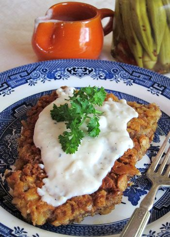 Chicken Fried Steak - I use thin round steak too, and ask the butcher to run it through his tenderizer before I buy it. Works great, with no pounding needed.
