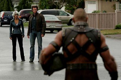 Wolverine and Storm about to fight Juggernaut from X-Men: The Last Stand