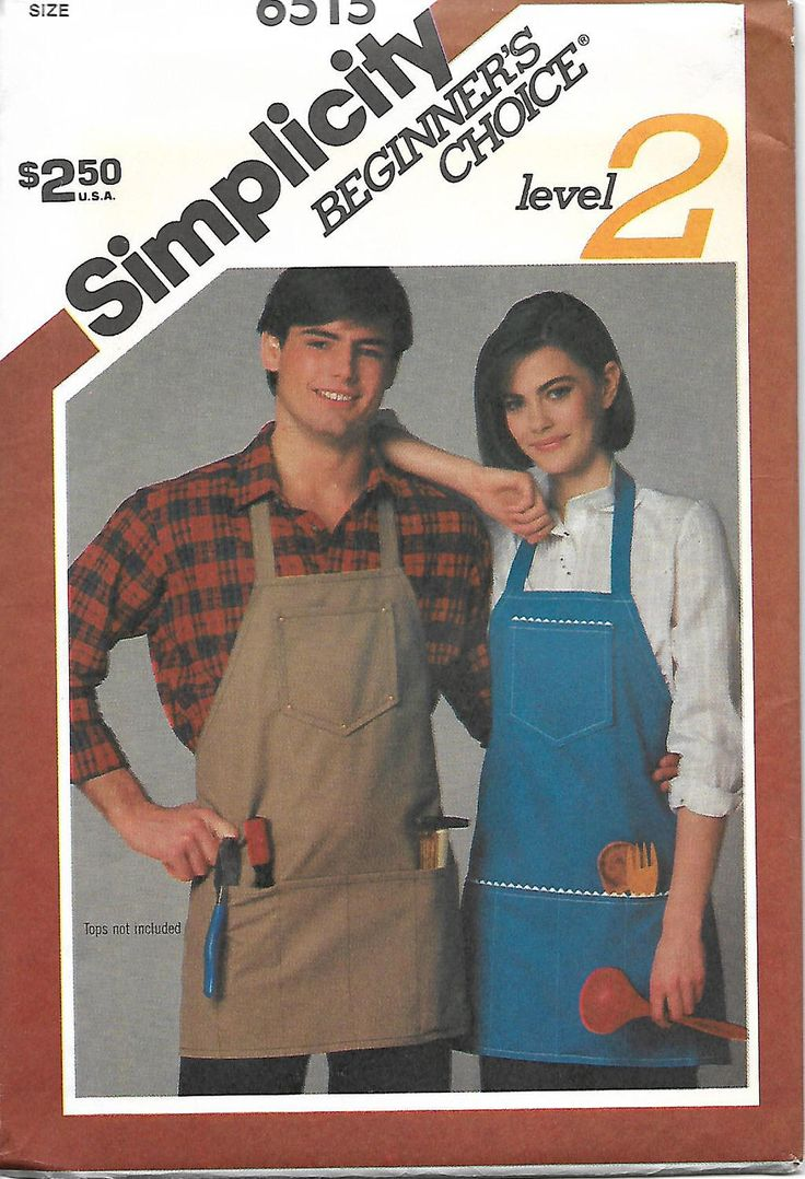 Simplicity 6515 Misses Or Men's Apron Pattern, Beginners Choice Level 2, UNCUT by DawnsDesignBoutique on Etsy https://www.etsy.com/listing/523291267/simplicity-6515-misses-or-mens-apron