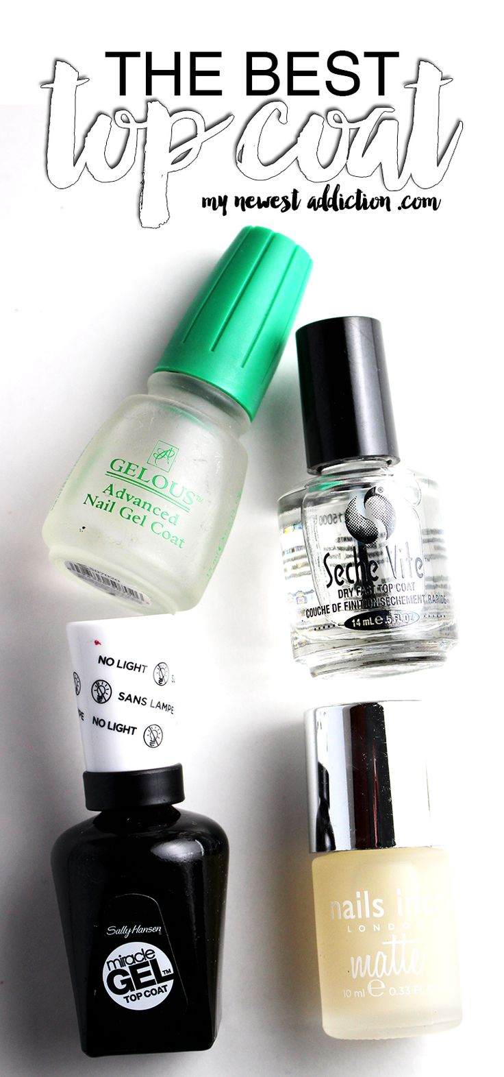 Top coats and nail polish go hand in hand.  The Best Top Coat for gel, long-lasting, matte, and general purposes.- My Newest Addiction Beauty Blog