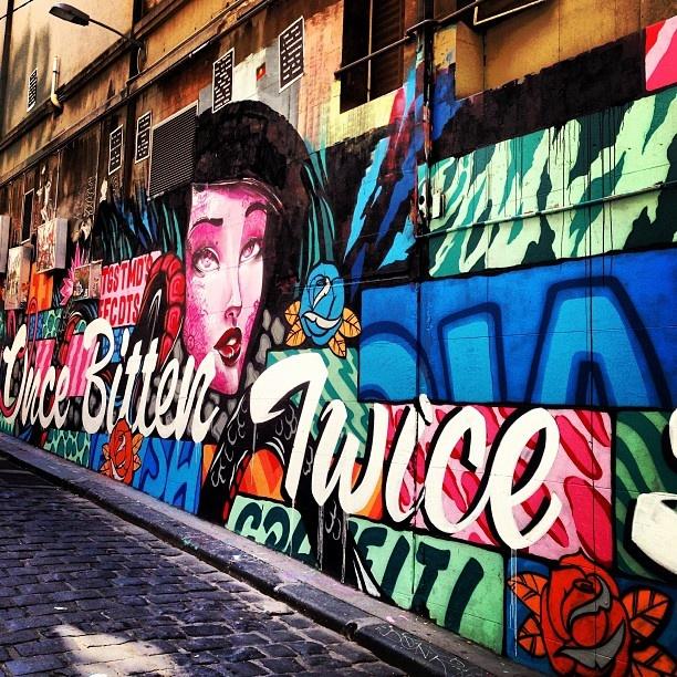 Graffiti/street art on Hosier Lane in Melbourne, Australia @adamjhamilton7