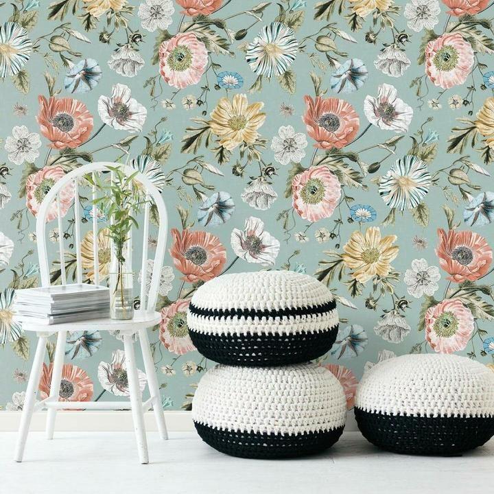 Vintage Poppy Peel And Stick Wallpaper Peel And Stick Wallpaper Room Visualizer Vintage Floral Wallpapers
