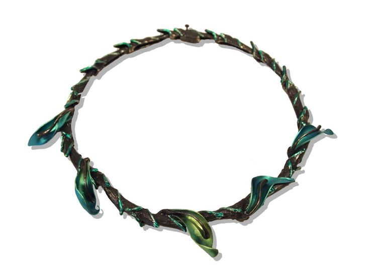 Jose Marin Necklace: Turquoise Jade Vine, 2015 Titanium, sterling silver, lacquer.