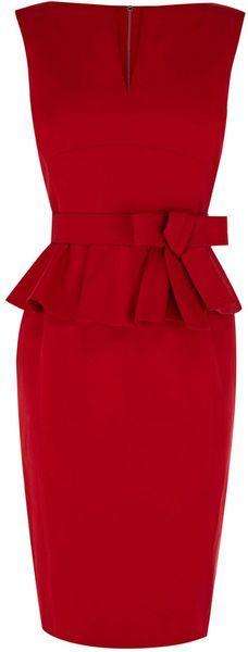 Karen Millen Signature Cotton Peplum Dress