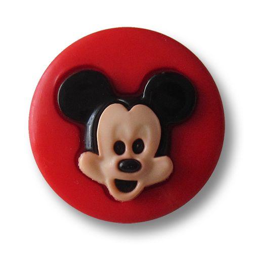 Diese hübschen Kinderknöpfe sind leicht gewölbt und aus Kunststoff gearbeitet. Die Grundfarbe der Kunststoffknöpfe ist rot. In der Mitte der Knöpfe ist als Motiv das große lachende Gesicht von Mickey Maus in Hautfarben und Schwarz zu...