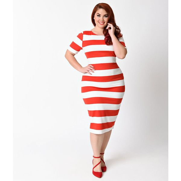 Unique Vintage Plus Size Red & White Stripe Presley Wiggle Dress ($36) ❤ liked on Polyvore featuring plus size women's fashion, plus size clothing, plus size dresses, plus size vintage dresses, white fitted dress, vintage dresses, sexy tight dress and sexy plus size dresses
