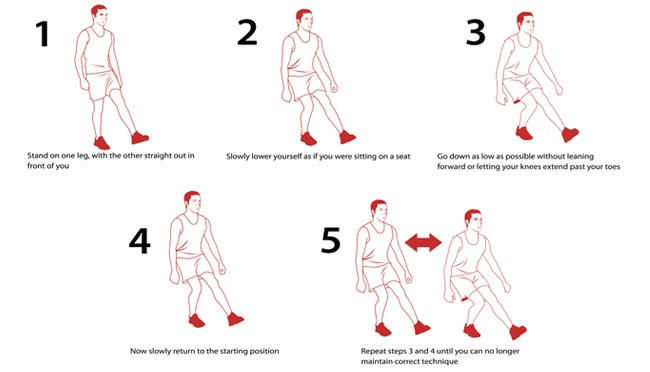 The single leg squat is a great bodyweight leg exercise which tests balance, coordination, and flexibility