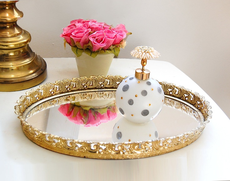 Gold vanity tray apartment room ideas pinterest home for Decorative bathroom tray