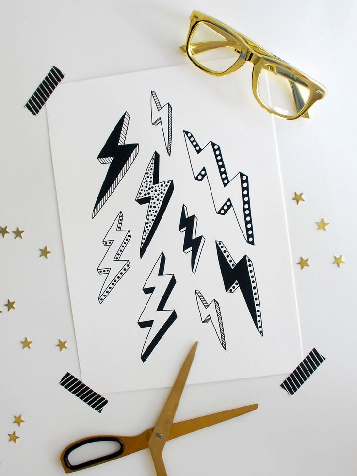 Hand drawn, black and white lightning bolt print.  SIZE: A4 size (210 x 297mm, 8.27 x 11.69 inches) or A3 size (297 x 420mm, 11.69 x 16.53 inches)  PAPER: Printed on museum grade 310gsm, 100% cotton fine art paper using Epson Ultra-Chrome inks.