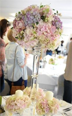 Wedding flowers hydrangea pink purple yellow cream centerpiece high