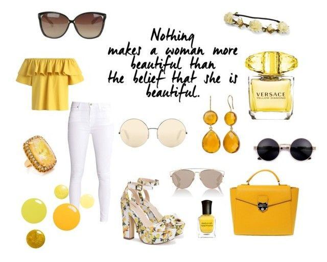 """Summer In Yellow"" by love2live-dk on Polyvore featuring Victoria Beckham, Linda Farrow, Christian Dior, Chicwish, Versace, Elizabeth Cole, POMIKAKI, Deborah Lippmann and Aéropostale"