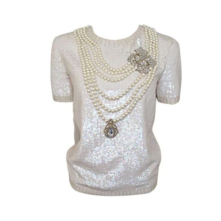 1stdibs.com | Rare Bill Blass Ivory Heavily Embellished Evening Top