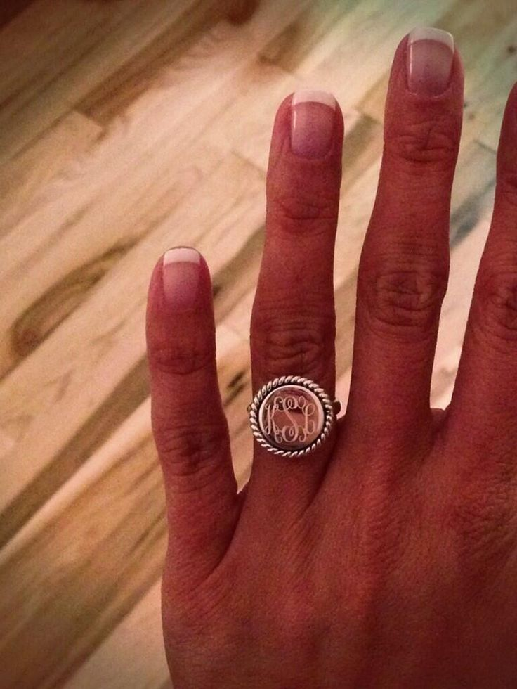 Monogrammed ring; for when you're places where you don't want to risk losing your diamond. I really love this. - wedding daze
