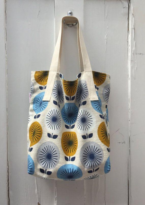 Mustard and blue Sunburst print tote bag