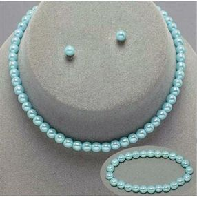 Kids Necklace, Earring, Bracelet Set - Pale Blue