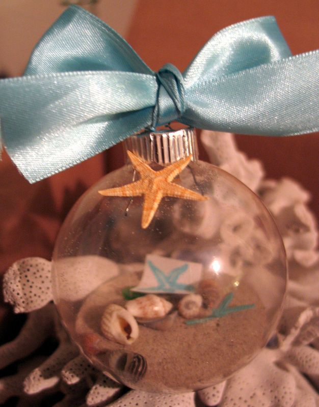 Coastal Decorations Glass Ball Ornaments with Sand, Shells, Sea Glass Beach Style Decor- Perfect for Wedding Favors