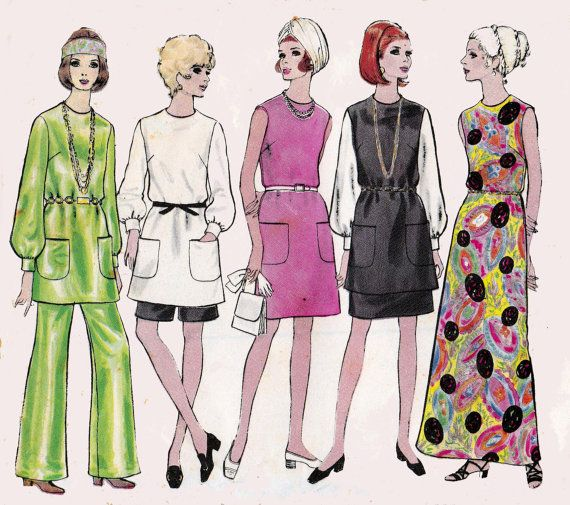 60s Vogue 7552 Dress Tunic Skirt Pants & Shorts Vintage Pattern 1960s Size 12 Bust 34 Inches