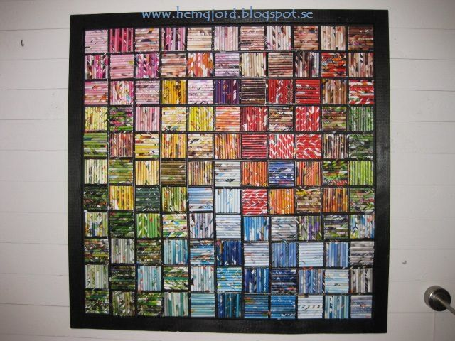 """This patchwork is made of recycled rolled up Magazine paper. The size of this wall Art is 110 cmx110 cm. [symple_box color=""""gray"""" fade_in=""""false"""" float=""""center"""" text_align=""""left"""" width=""""100%""""] Website: www.hemgjord.blogspot.se ! Submitted by: Helena Andreasson ! [/symple_box]"""